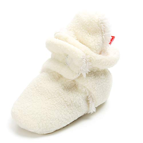 White Baby Bootie Socks - Isbasic Unisex Baby Cozie Fleece Lined Booties Non-Slip Soft Sole Infant Winter Warm Socks Shoes(JRwhite 0-6 Months)