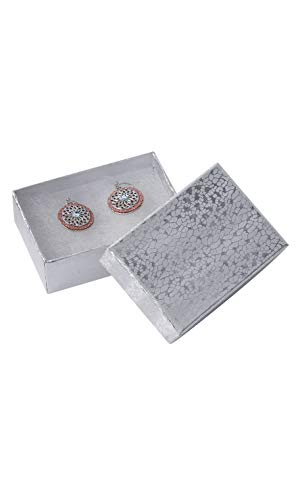 (Cotton Filled Silver Embossed Jewelry Boxes - 3 1/16