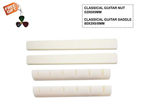 - SUNLP Guitar Bridge Nut Saddle for Classical Guitar 6 Strings Real Bone Replacement Parts (White), 2 Pairs 4 Pcs Total