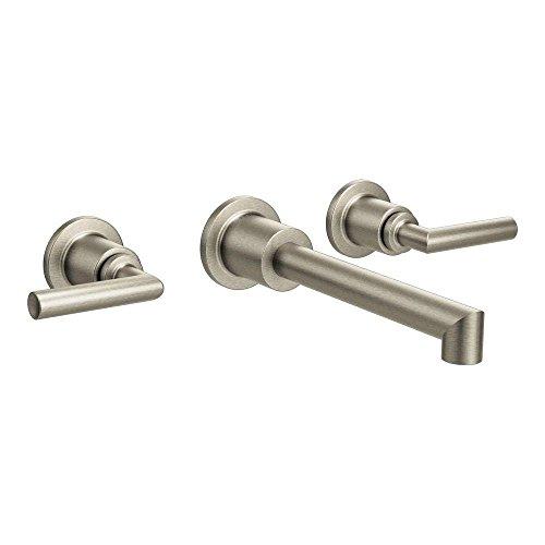 (Moen TS43003BN Arris Two-Handle Wall Mount Bathroom Faucet, Brushed Nickel)