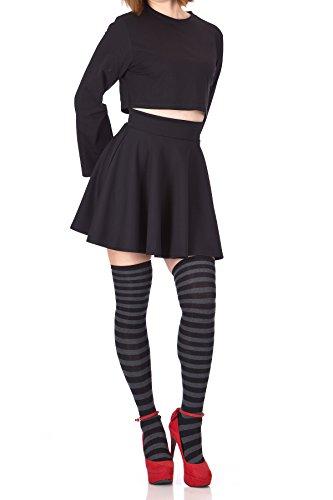 (Fancy Retro High Waist A-line Flowing Full Flared Swing Circle Skater Short Mini Skirt (S, Black))