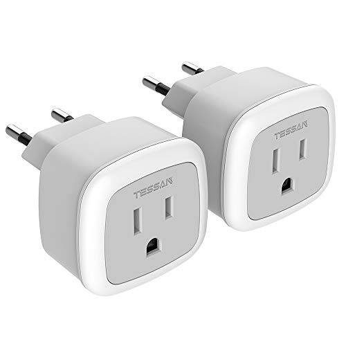 European Travel Plug Adapter, TESSAN International US to The Most Europe Power Adapter, Lightweight, Compact Size for The Traveler, Safe for The Type C Standard Country Such as Italy, Iceland(2 Pack)