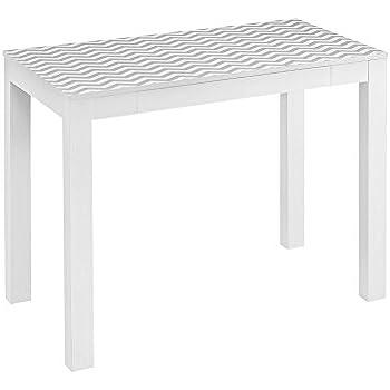 Altra Parsons Desk With Drawer, White/Gray Chevron