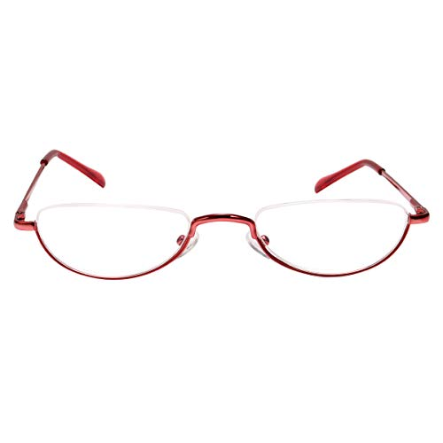 Fuaisi Vintage Alloy Half Moon Classic Reading Glasses Men And Women Half Frame Slim Glasses (Red, ()
