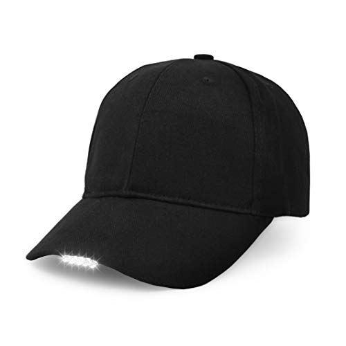 UltraKey Hands Free LED Baseball Cap Light Glow Bright Women Men Sport Hat Dark for Outdoor Jogging Breathable Snapback Hats Hip Hop Party Holiday(Black)]()