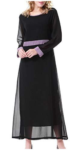 Coolred-femmes Caftan Col Rond Arabe Malaisie Abaya Jilbab Musulman Noir Robe