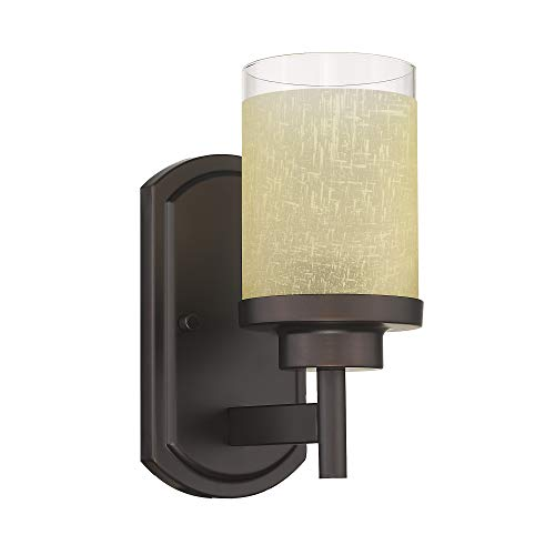 Jazava Modern Bath Vanity Light Fixture, Bathroom Wall Light for Farmhouse, Halls,Yellow Linen Frosted Glass Shades in Oil Rubbed Bronze Finish