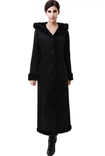 "BGSD Women's ""Pauline"" Hooded Faux Shearling Maxi Coat - Black L"