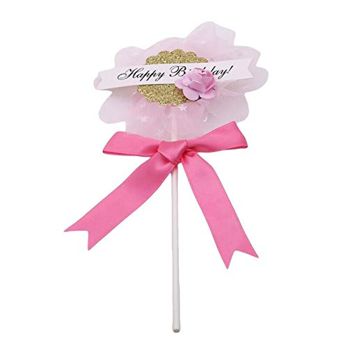Cake Decorating Supplies - Cute Beautiful Flower Happy Birthday Cake Insert Card Wedding Per Decoration Party 978487 - Stand Large Russian Cowboys Case Storage Brush Professionals Couplers Pa ()