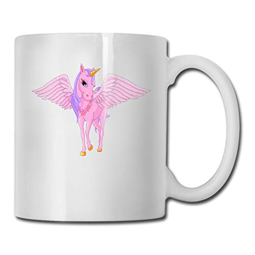 - Pink Unicorn Pegasus Vector Image Mug New Custom Coffee Cup Teacup White Porcelain Cup,Suitable for Home, Office Use-17 Ounces