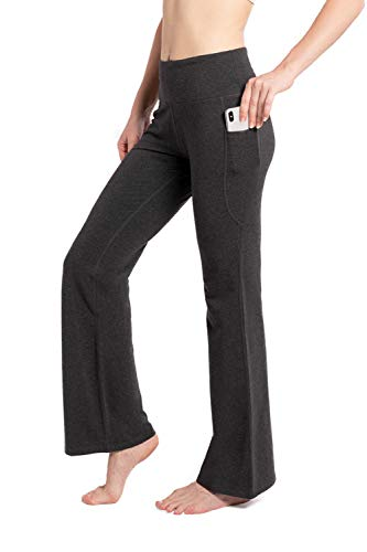 SYKROO Women's Bootcut Yoga Pants Long Bootleg High Waisted Tummy Control Workout Flare Pants Cotton Pants with Pockets