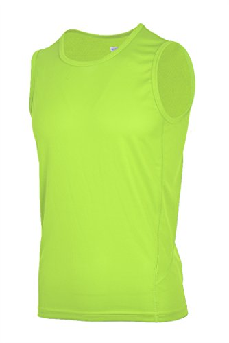 H.MILES Mens Sleeveless Workout Shirts Performance Running tee Shirts Athletic Gym Muscle Tank Tops Neno Yellow-L
