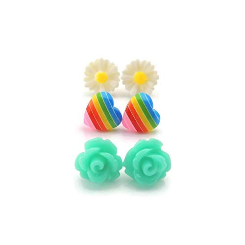 Metal Free Plastic Post Earrings, Teal Rose, Rainbow Heart, Daisy Gift Set