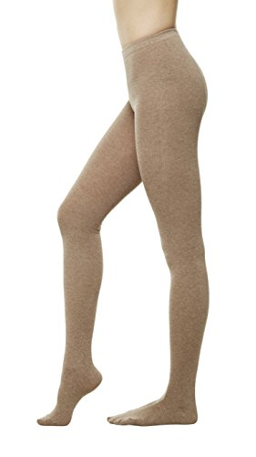 Women Color Flat knit Sweater Cotton Stirrup Footless Footed tights (S/M, Camel)