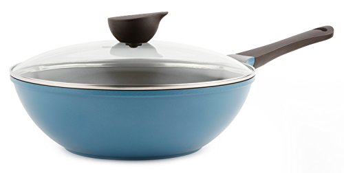 Wok Chef s Pan with Glass Lid – 12-inch Ceramic Nonstick in Deep Blue by Neoflam
