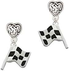 Checkered Race Flag Celtic Heart Earrings