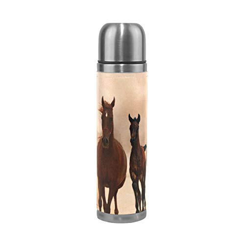- Horses Running Steel Water Bottle Leak-proof Double Walled Vacuum Insulated Travel Mug Genuine Leather Cover 17 Oz