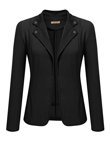 ACEVOG Women's Long Sleeve Casual Office Open Front Single Button Patchwork Elbow Blazer Jacket (Black, Small) -