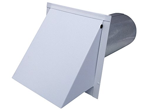 Dryer Wall Vent White Powder Coated Steel (Standard 4 Inch Diameter Exhaust) - Vent Works by Vent Works
