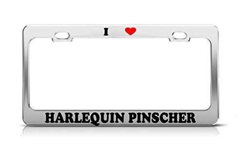 Fshionlicendseplate I Heart Harlequin Pinscher Cat Dog Puppy License Plate Frame Aluminum Funny for Women ()