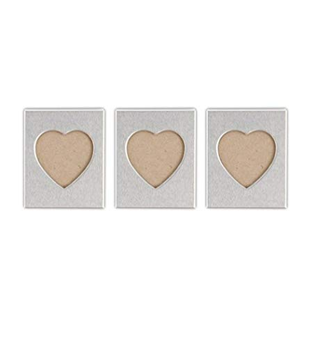Mini Magnet Back Aluminum Heart Photo Frames ()