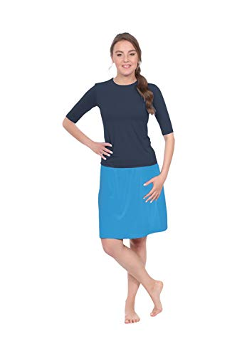 - Kosher Casual Women's Modest Knee-Length Swim & Sport Skirt with Built-in Shorts - Skort Style Large Blue Turquoise