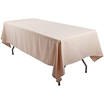 E TEX 60x102 Inch Polyester Rectangular Tablecloth Beige