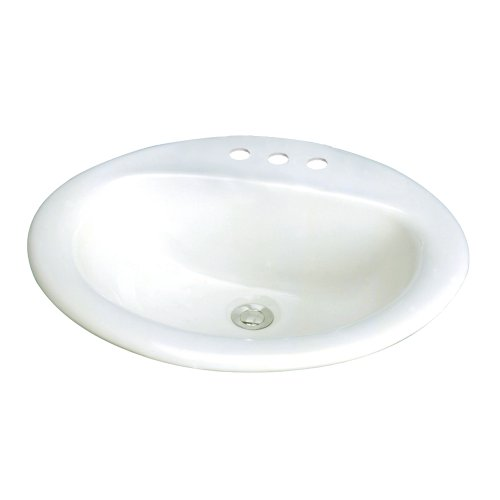 Transolid TL-1558-01 Akron Oval Drop-In Vitreous China Lavatory 8-Inch Centers, (Lavatory 8in Centers)