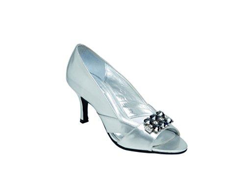 Damen U Toe P Silver Schuh Peep mit Diamantenbesatz r0zrqP