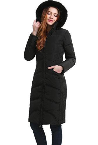 BGSD Women's Bonnie Water Resistant Hooded Long Down Coat - Black L (Coats Women Brands)