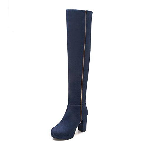 AgooLar Damen Reißverschluss Hoher Absatz Reißverschluss Rund Zehe Stiefel Blau
