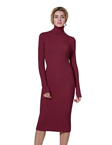 ninovino Women's Turtleneck Ribbed Long Sleeve Bodycon Pullover Sweater Dress Red-L