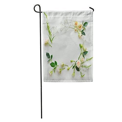 Semtomn Garden Flag Assorted Roses Heads on Flowers and Leaves Scattered Table Overhead Home Yard Decor Barnner Outdoor Stand 12x18 Inches Flag (Roses Assorted 18)