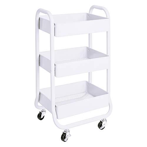 AmazonBasics 3-Tier Metal Rolling Storage Cart and Organizer, White