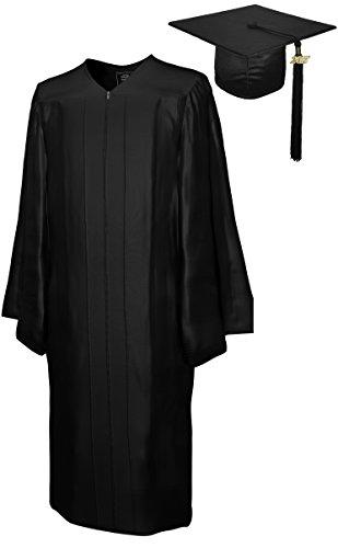 College Fashion Graduation Cap Gown Tassel 2017 Year Charm, Set Shiny, size 54 black (Judges Robe)