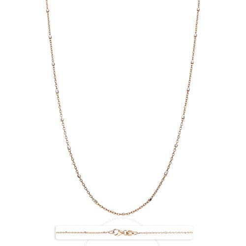 14K Solid Yellow White Rose Gold Cable Link Saturn Beads Station Chain 16