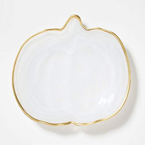 Vietri Alabaster Pumpkin Platter, White with Gold Edge