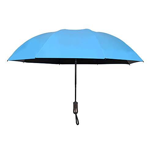 Reverse Automatic Open Close Folding Umbrella,Windproof Golf Car Travel Large Inverted Compact Portable Sun&Rain UV Ultraviolet-proof Umbrella For Men Women,46 Inch (Sky Blue) by YRH (Image #1)