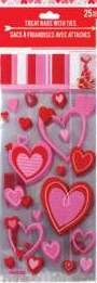 25pcs (1) Pack Valentine's Heart themed Flat Cello/Cellophane/Loot Treat Bag 11.5 x 5 inch (Red & Pink ()