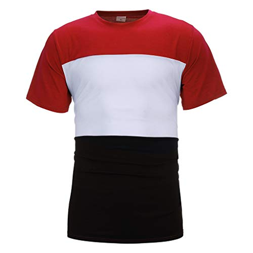 Homeparty Men's Splicing Striped Pattern Casual Fashion Lapel Short Sleeve Shirt Red