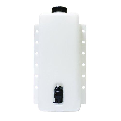 6 Quart High Density Polyethylene Plastic Windshield Washer Tank Assembly with 24 Volt Pump - 8-1/2'' L x 4-1/2'' W x 14-7/8'' H