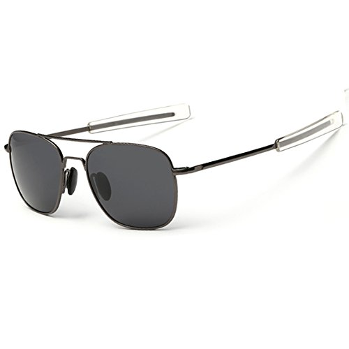 WPF Retro Polarized Sunglasses Aviator Sun Glasses for Men (As Picture, Gun-grey Frame Black Grey Lens)