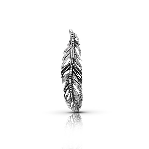 (Big Feather Pendant 925 Sterling Silver Native American Tribal Bohemian Jewelry )