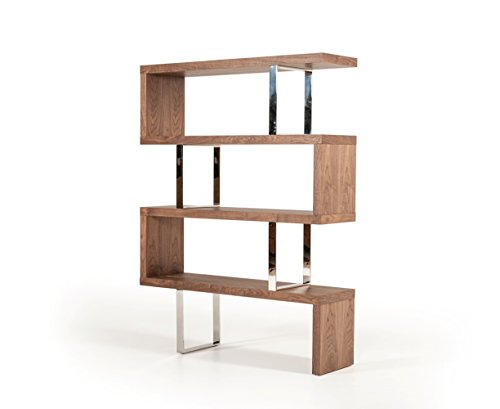 Limari Home The Callista Collection Modern Wood And Metal Storage Shelf Contemporary Zig Zag Bookcase, ()