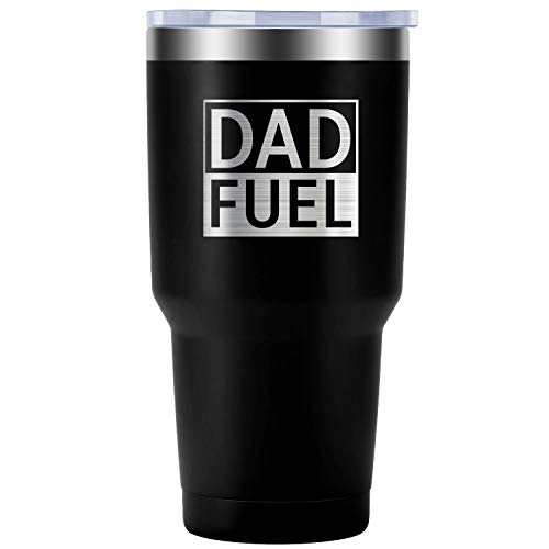 Dad Fuel - Funny 30th 40th 50th 60th 70th Dad Birthday, Father's Day Gifts Ideas for Men, New Dad, Dad To Be, Daddy, Husband, Him from Son, Daughter, Wife - LEADO 30 oz Insulated Tumbler Travel Mug -
