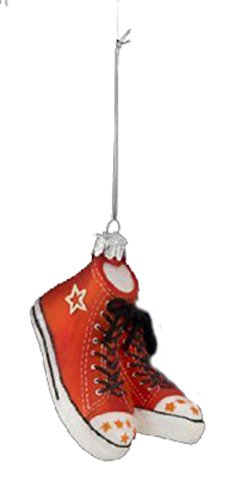 "4"" Noble Gems Orange High Top Sneakers Christmas Mouth Blown Glass Ornament"
