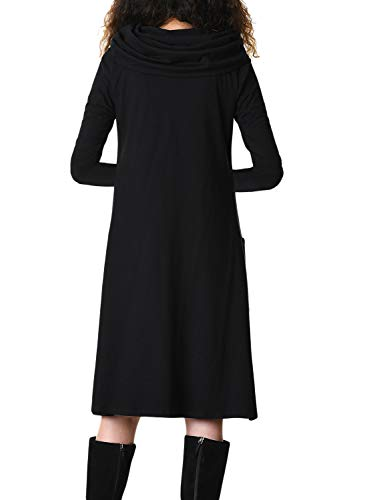 Womens Dress Midi Swing Long Line Sleeve with Cowl Black Pockets Lovezesent A Neck RAfOOxq