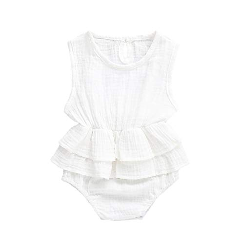 - Muasaaluxi Newborn Infant Baby Girls Sleeveless Romper Cotton Ruffled Bodysuit Jumpsuit Jumpsuit Sunsuit Summer Outfit 0-24M (0-6M, White)