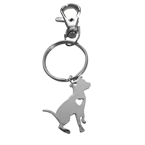 Art Attack Silvertone I Love My Dog Lover Heart Outline American Pitbull Terrier Pit Bull Pet Puppy Rescue Pendant Keychain (Were Pit Bulls Bred To Be Nannies)