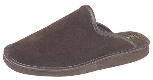 Mens Real Suede Leather lightweight mule slippers Brown fndvB